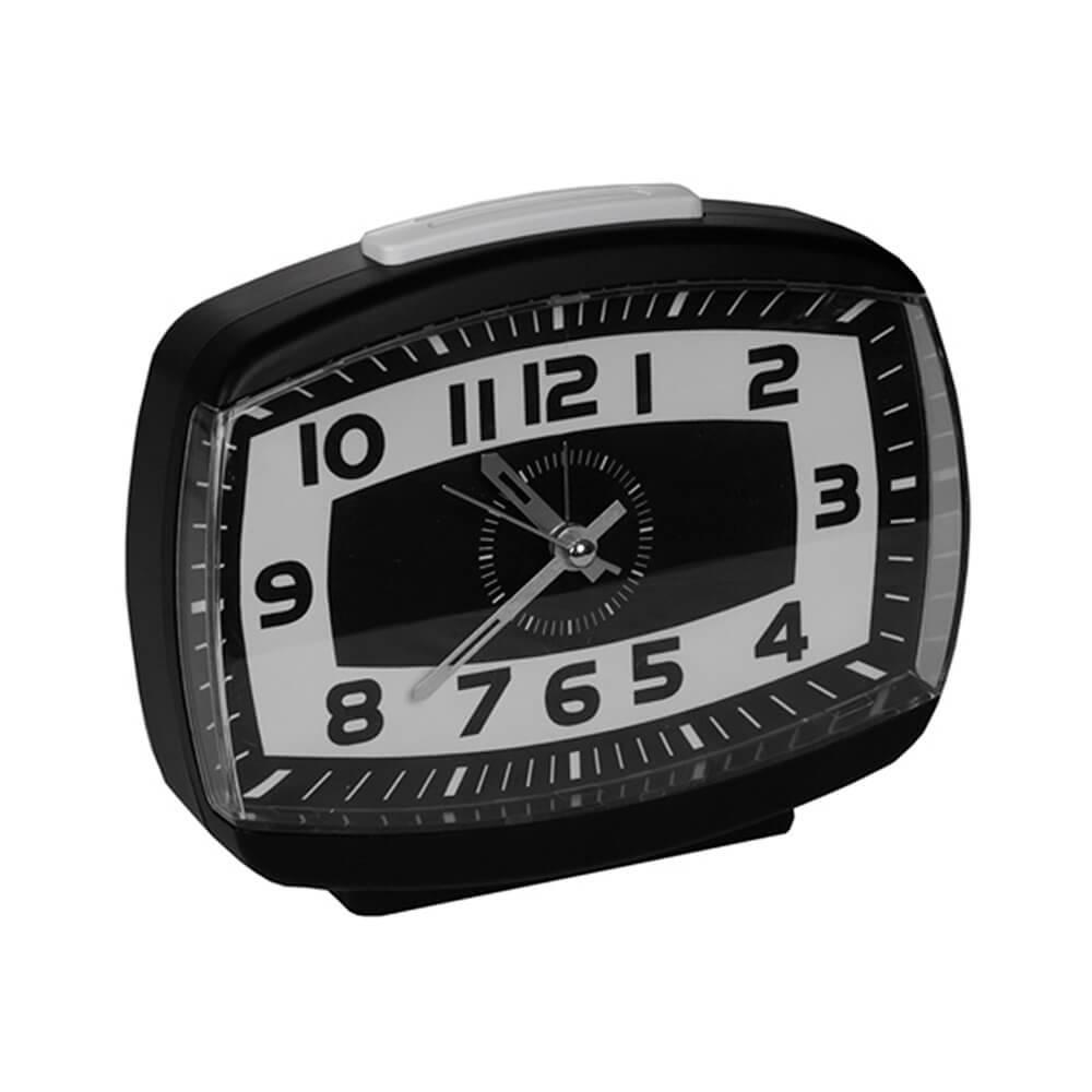 Relógio Despertador Retro White Line Preto/Branco - Urban - 14,5x12,5 cm