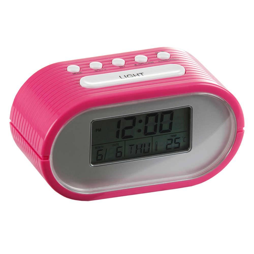 Relógio Despertador Slot com Medidor de Temperatura Pink Brilhante - Urban - 14,5x7,5 cm