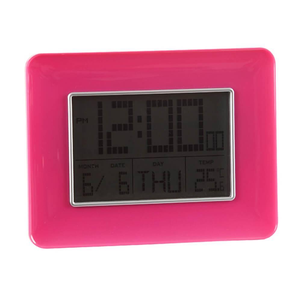 Relógio Despertador Slot Pink com Medidor de Temperatura e Base Fixa - Urban - 19x14 cm