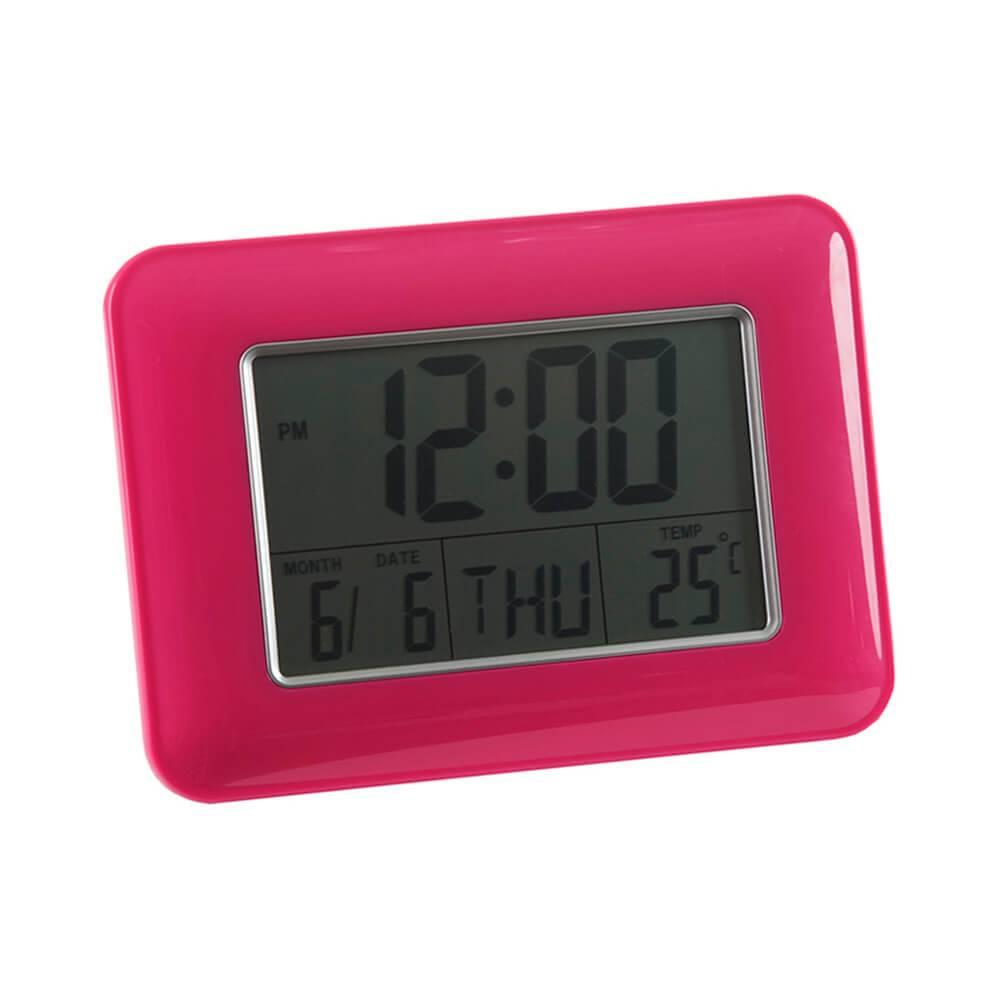 Relógio Despertador Slot Pink com Medidor de Temperatura e Base Fixa - Urban - 24x17 cm