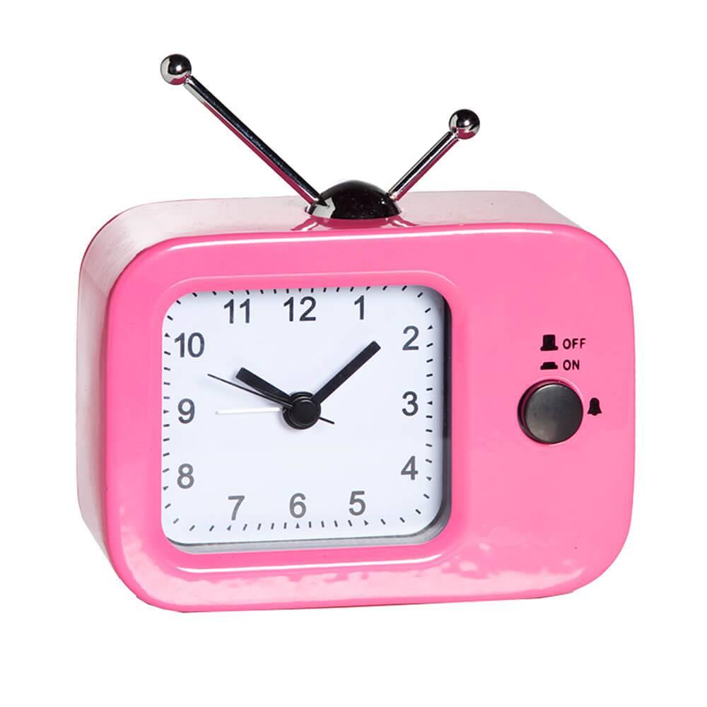 Relógio Despertador TV Retro Pink em Metal - Urban - 11,5x9 cm