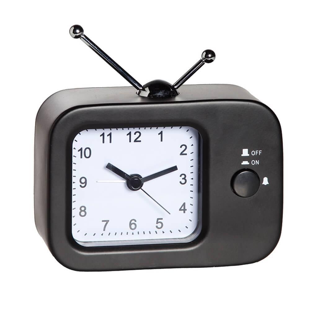 Relógio Despertador TV Retro Preto em Metal - Urban - 11,5x9 cm