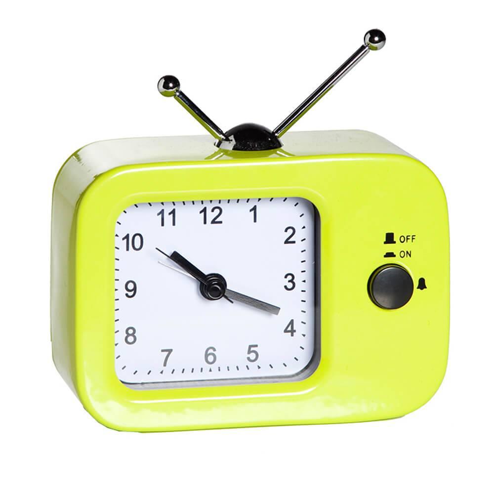 Relógio Despertador TV Retro Verde em Metal - Urban - 11,5x9 cm