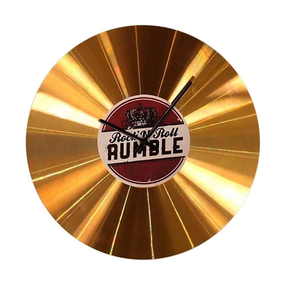 Relógio Disco de Ouro Rock Rumble em Metal - 35x35 cm