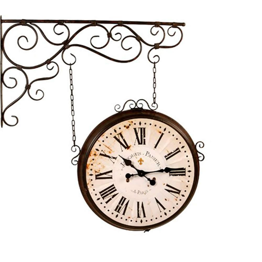 Relógio Estação Arabescos Romanos em Metal Envelhecido - 104x104 cm