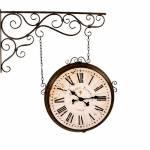 Relógio Estação Arabescos Romanos em Metal Envelhecido