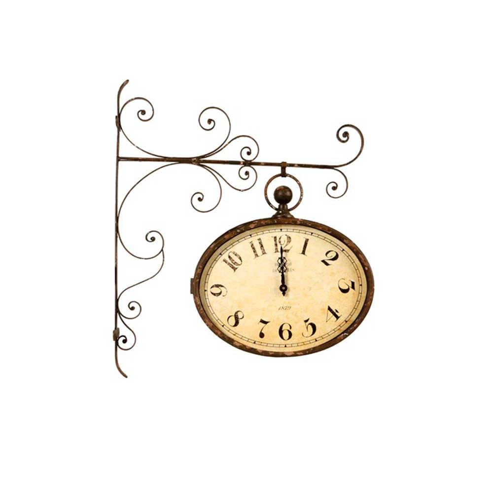 Relógio Estação Arasbescos 1829 Marrom Envelhecido em Metal - 70x60 cm