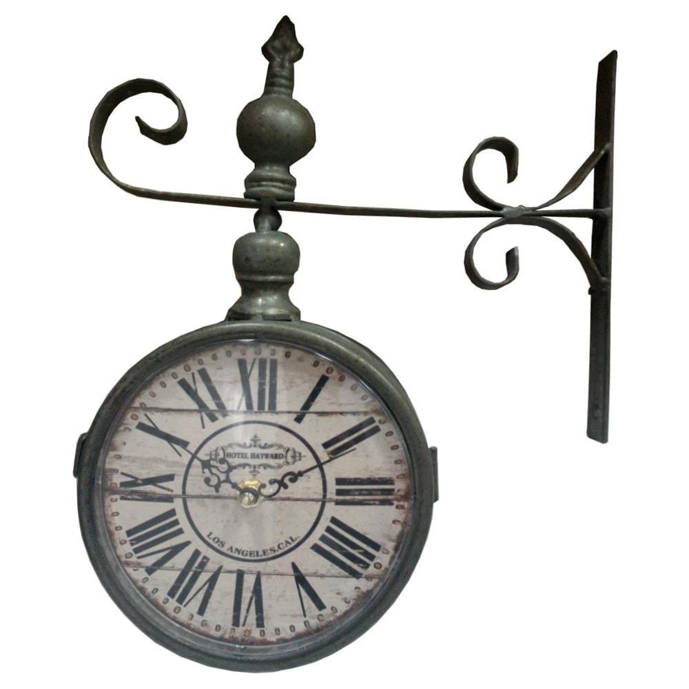 Relógio Estação Los Angeles Califórnia Cinza Envelhecido Oldway - 32x26 cm