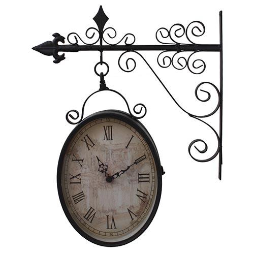 Relógio Estação Oval Antique Uso Externo Greenway - 44x36cm