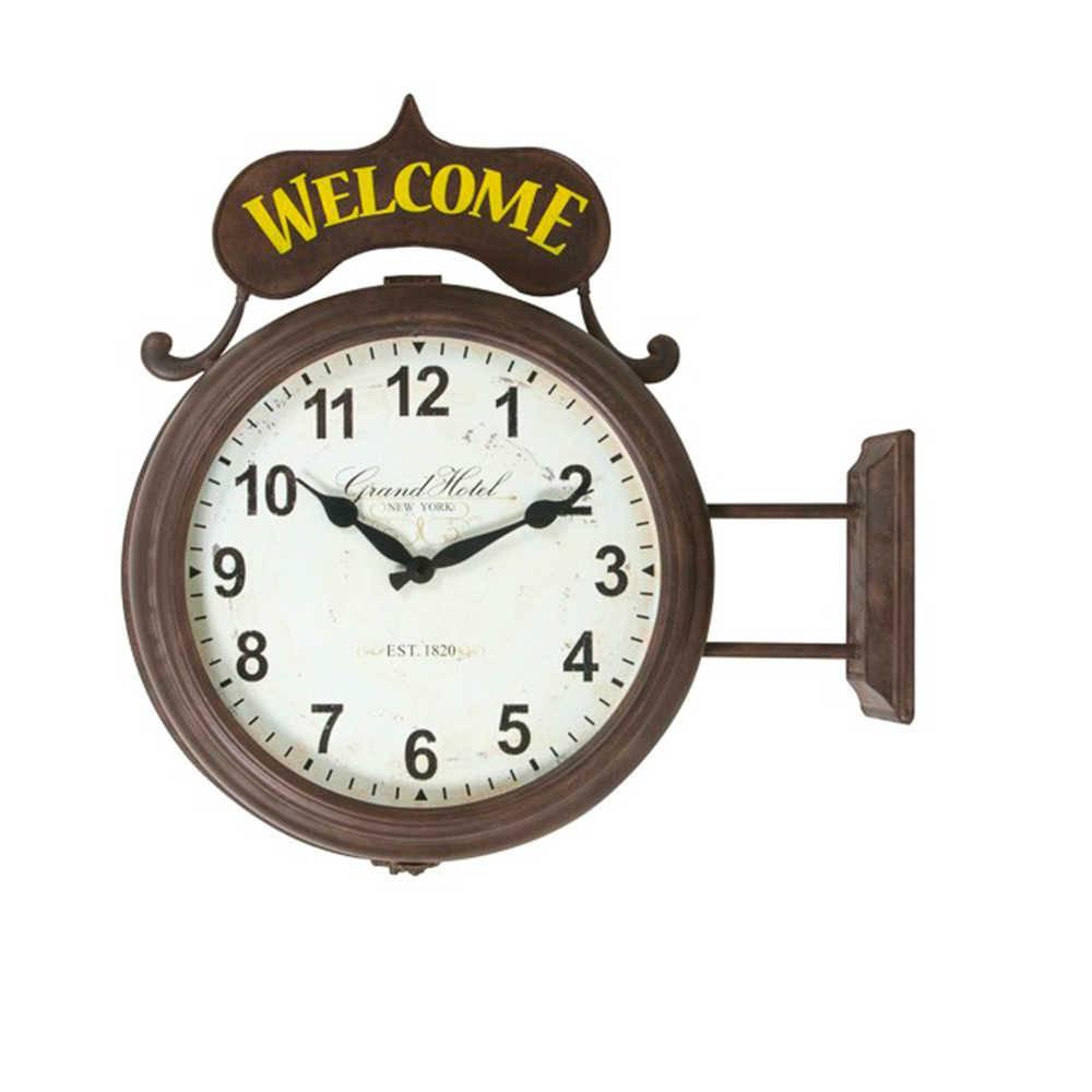 Relógio Estação Welcome Marrom e Amarelo em Metal Envelhecido - 51x47 cm