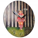 Relógio Gordinha Jogadora de Tênis Colorido em Madeira - 29x29 cm