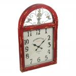 Relógio Janela London Retrô Vermelho c/ Efeito Shabby Chic em Madeira - 77x48 cm