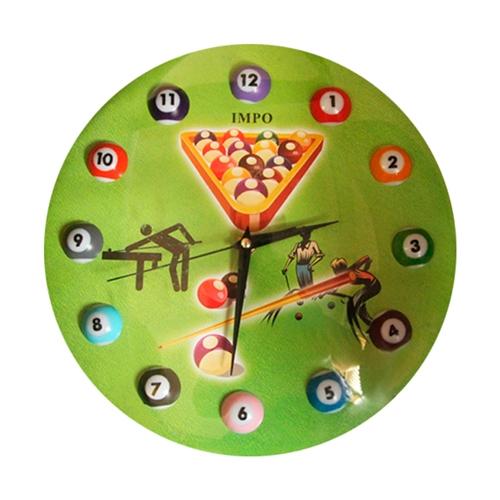 Relógio Jogo de Bilhar - Vidro - 29 cm