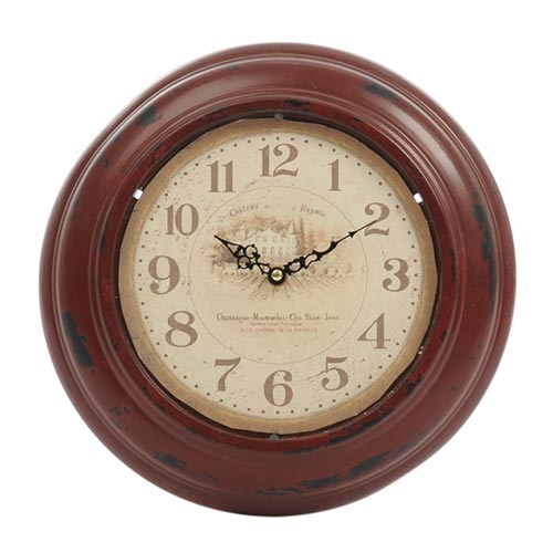 Relógio La Royalle Vermelho Rústico em Metal - 32x6 cm