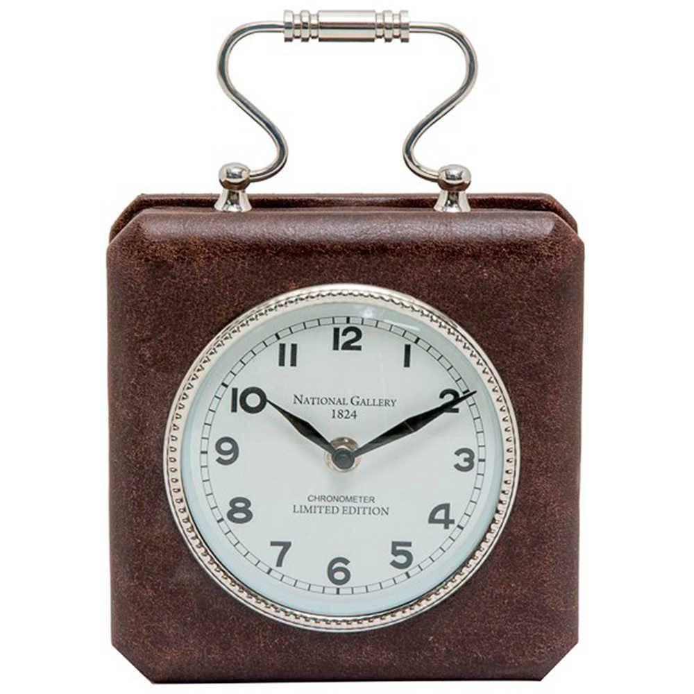Relógio Maleta National Galery em Couro Natural com Detalhe Cromado - 25x18 cm