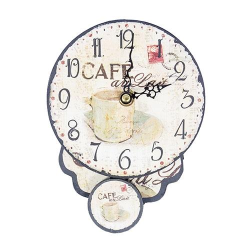 Relógio em MDF Café Au Lait Oldway - 19x14x5 cm