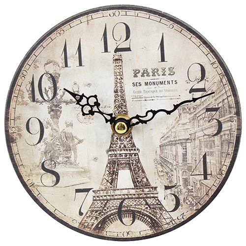 Relógio MDF de Mesa Torre Eiffel Oldway - 15 cm