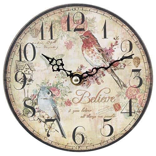 Relógio MDF Pássaros Believe Oldway - 15 cm