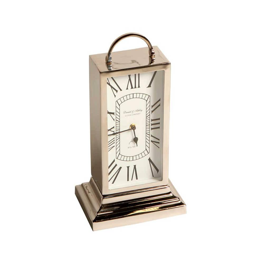Relógio de Mesa Altar Romano em Metal com Banho de Níquel - 44x22 cm
