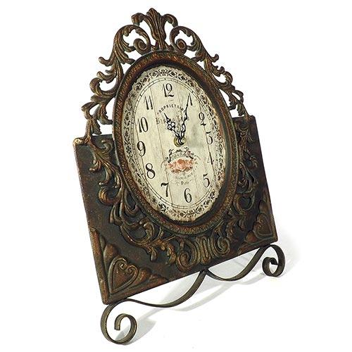 Relógio de Mesa Arabescos Bistro Leon Oldway - Metal - 38x29 cm