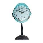 Relógio de Mesa Azul Envelhecido em Ferro Oldway - 30x15 cm