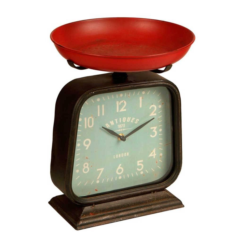 Relógio de Mesa com Balança Decorativa Vermelha e Marrom em Metal - 33x23 cm