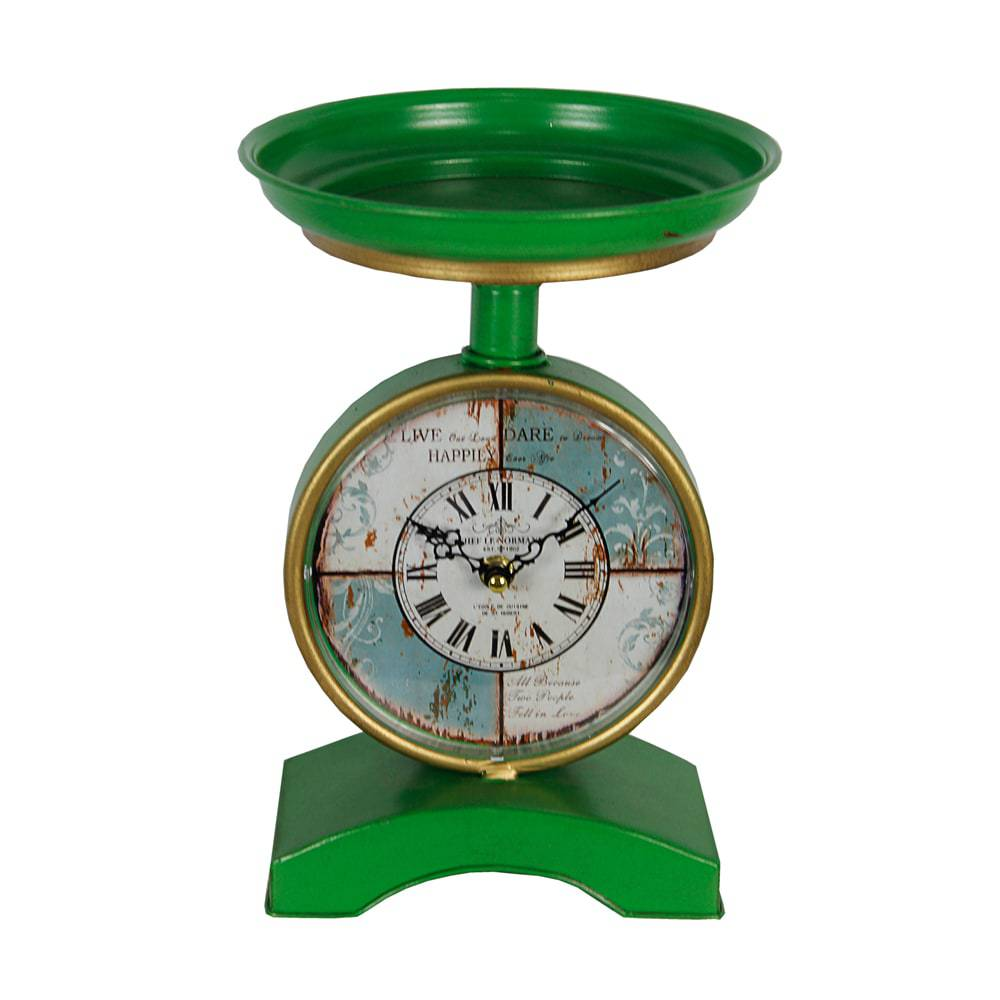 Relógio de Mesa Balança Green Oldway em Metal - 24x19x10 cm