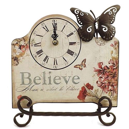Relógio de Mesa Believe Borboleta Oldway - Em Metal - 30x25cm