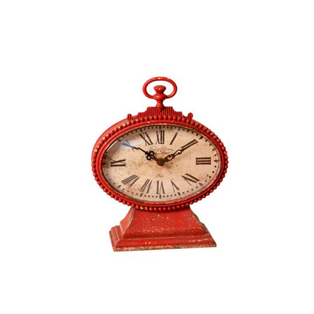 Relógio de Mesa Bilanciare Vermelho Envelhecido em Metal - 21x17 cm