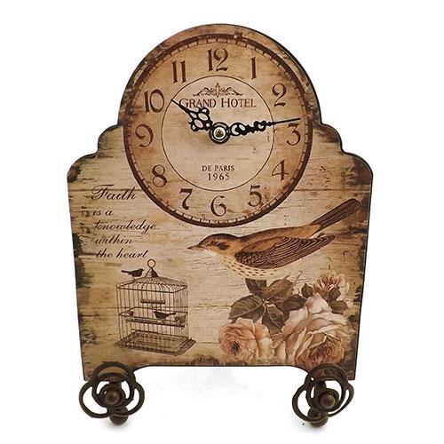 Relógio de Mesa Bird Grand Hotel Faith Oldway - Em Metal - 20x29 cm