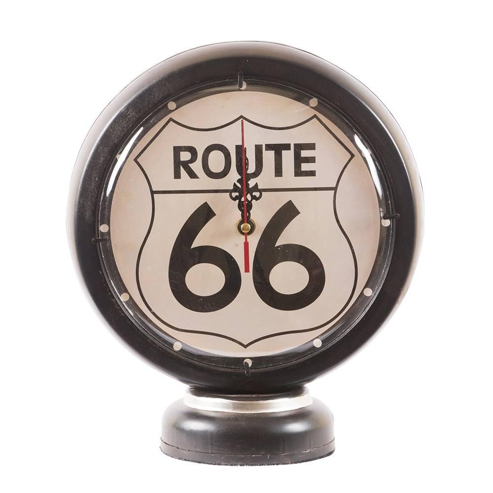 Relógio de Mesa Bomba de Combustível Black Gasoline Route 66 em Ferro - 27x22 cm