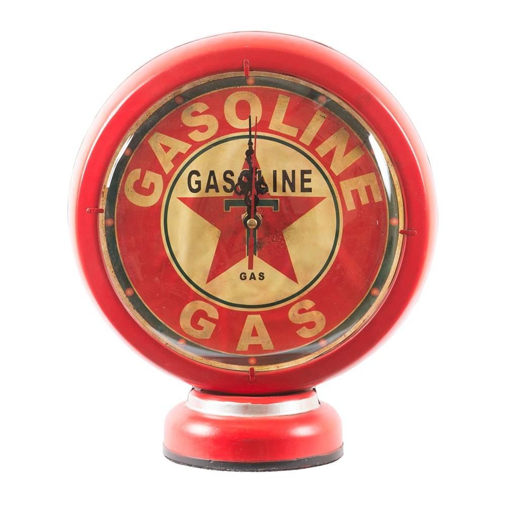 Relógio de Mesa Bomba de Combustível Gasoline T Gas Pump Vermelho em Ferro - 27x22 cm