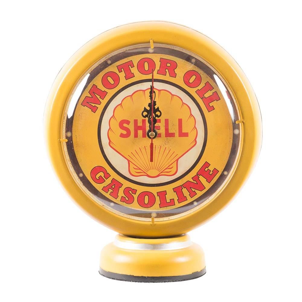 Relógio de Mesa Bomba de Combustivel Motor Oil Gasoline Shell Amarelo em Ferro - 27x22 cm