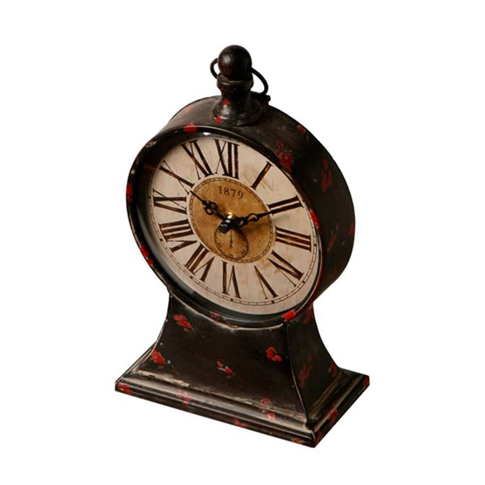 Relógio de Mesa Classic Flores Vermelhas em Metal - 26x16 cm