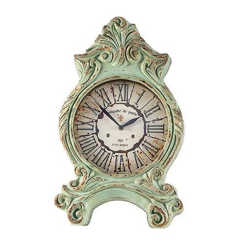 Relógio de Mesa Clássico Paris Verde em Resina Oldway - 51x32 cm