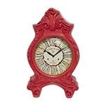 Relógio de Mesa Clássico Paris Vermelho em Resina Oldway - 51x32 cm
