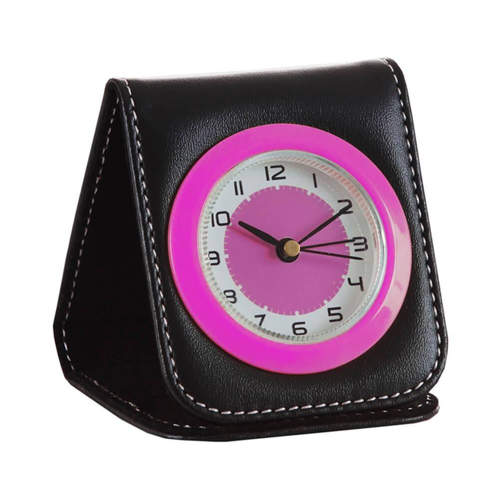Relógio de Mesa Color Travel Pink em Couro Sintético - Urban - 9x7,5 cm