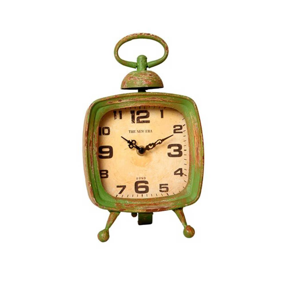 Relógio de Mesa Cosmos Verde Envelhecido em Metal - 27x15 cm