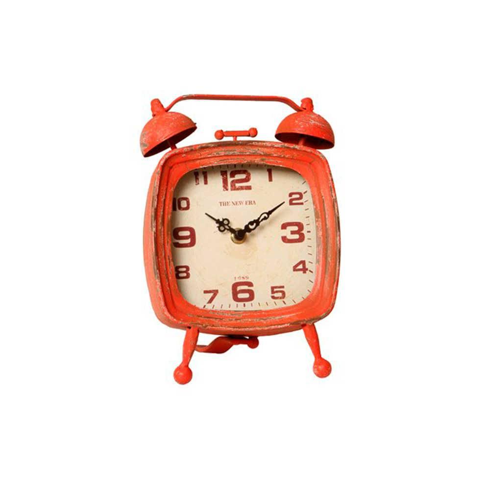 Relógio de Mesa Cosmos Vermelho Envelhecido em Metal - 24x16 cm