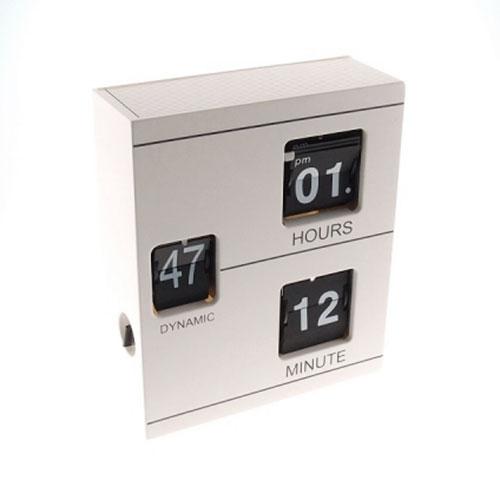 Relógio de Mesa Cubos Branco em Resina  - 19x16 cm