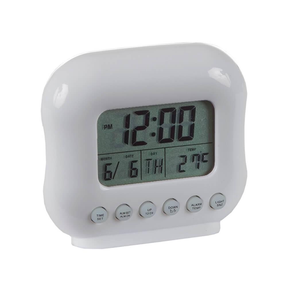 Relógio de Mesa Despertador com Medidor de Temperatura Branco - Urban