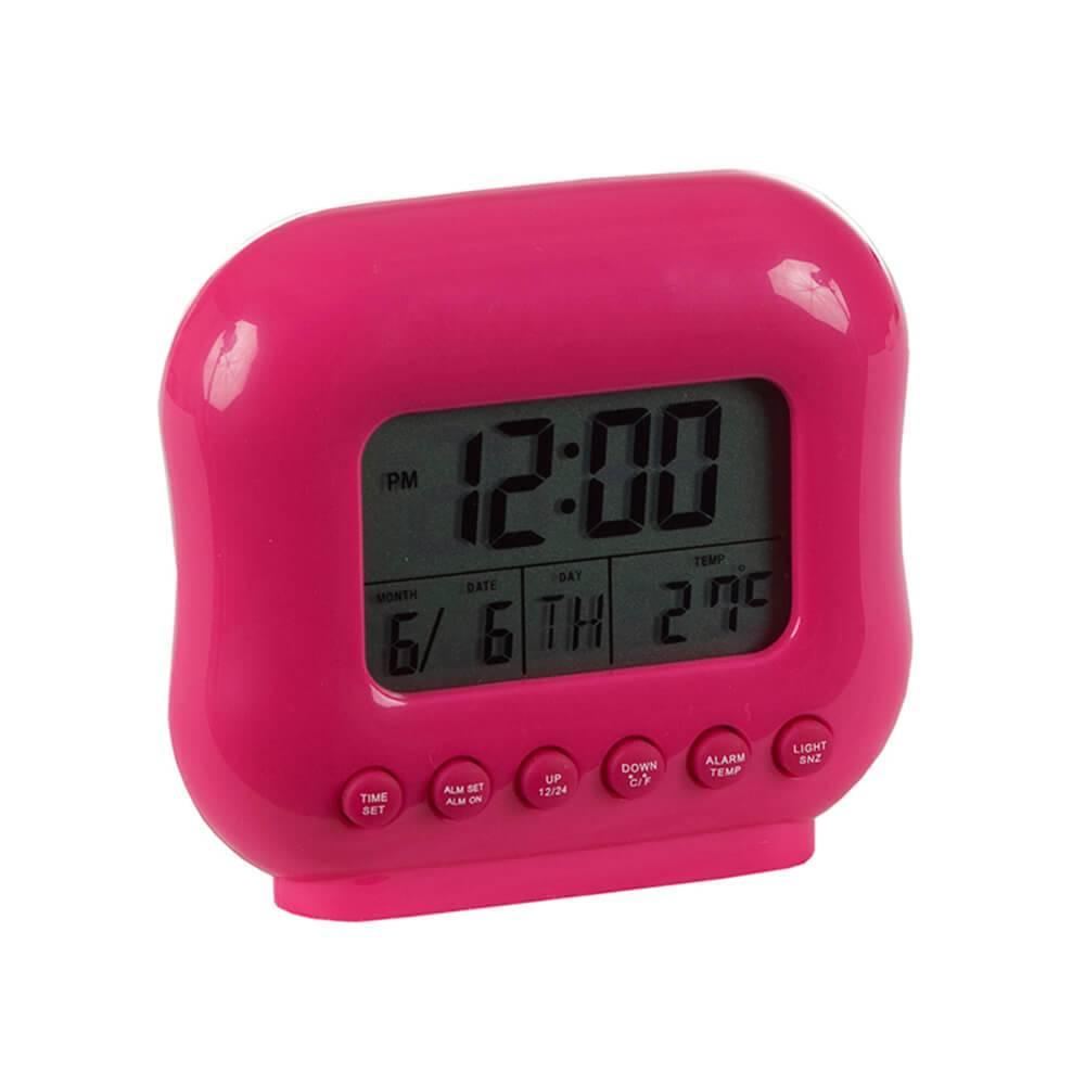 Relógio de Mesa Despertador com Medidor de Temperatura Pink - Urban - 10x8 cm