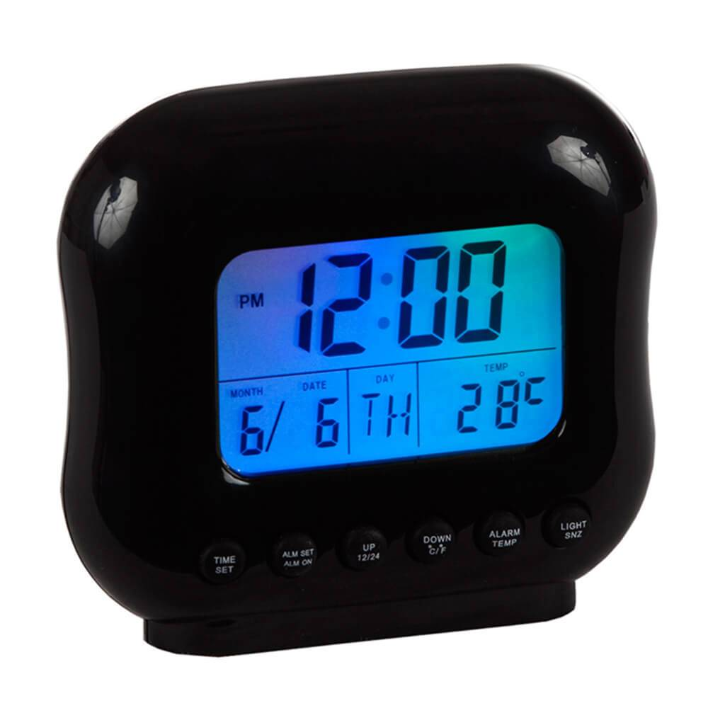 Relógio de Mesa Despertador com Medidor de Temperatura Preto - Urban