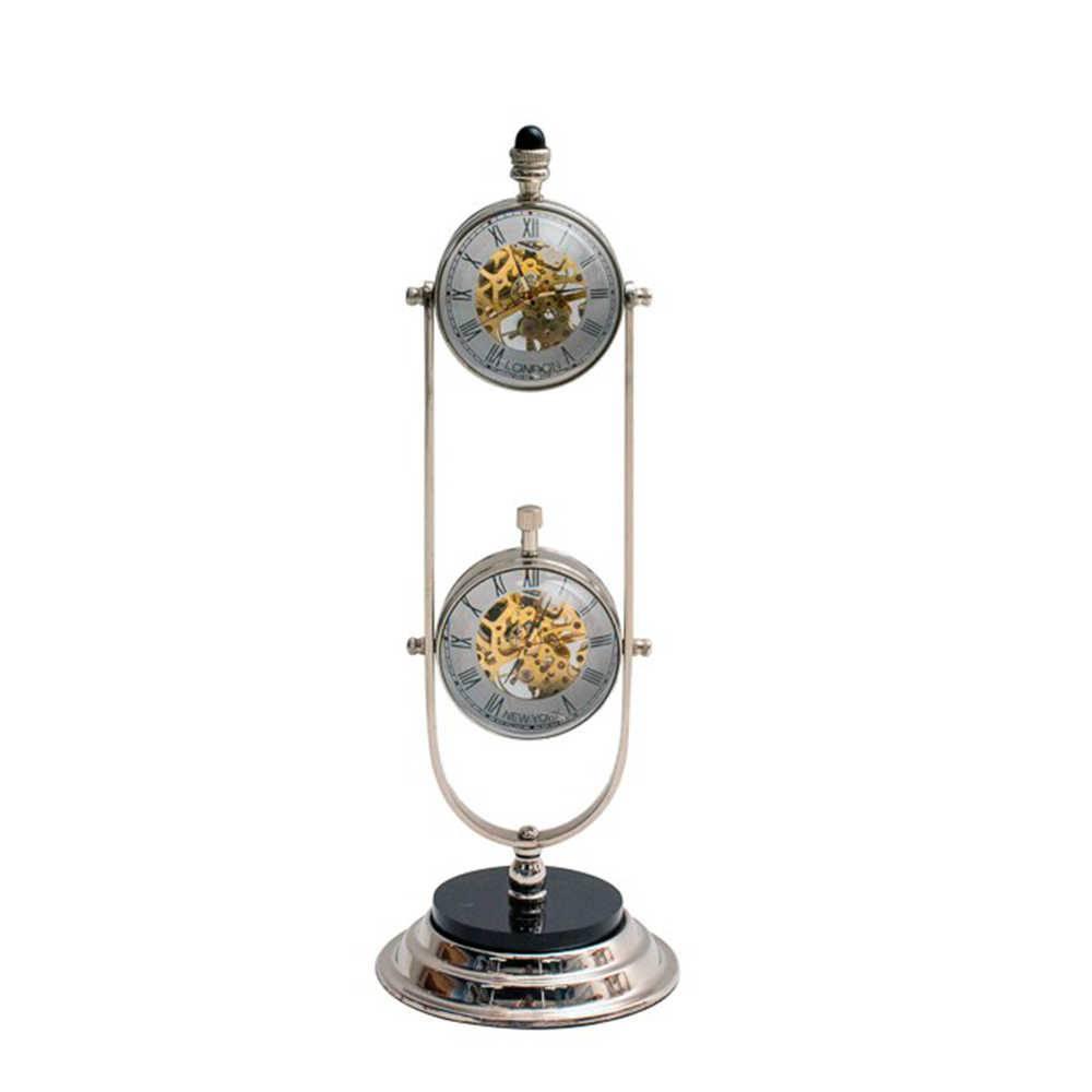 Relógio de Mesa Duo Mecânica Cinza e Dourado em Metal com Banho de Bronze - 28x10 cm