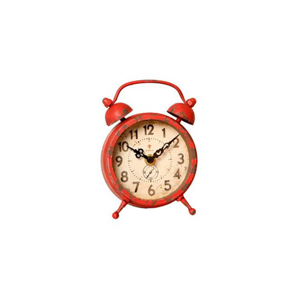 Relógio de Mesa Edmond Jaeger Vermelho Envelhecido em Metal - 15x11 cm