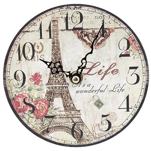 Relógio de Mesa Eiffel Tower Life Oldway - Em MDF - 15 cm