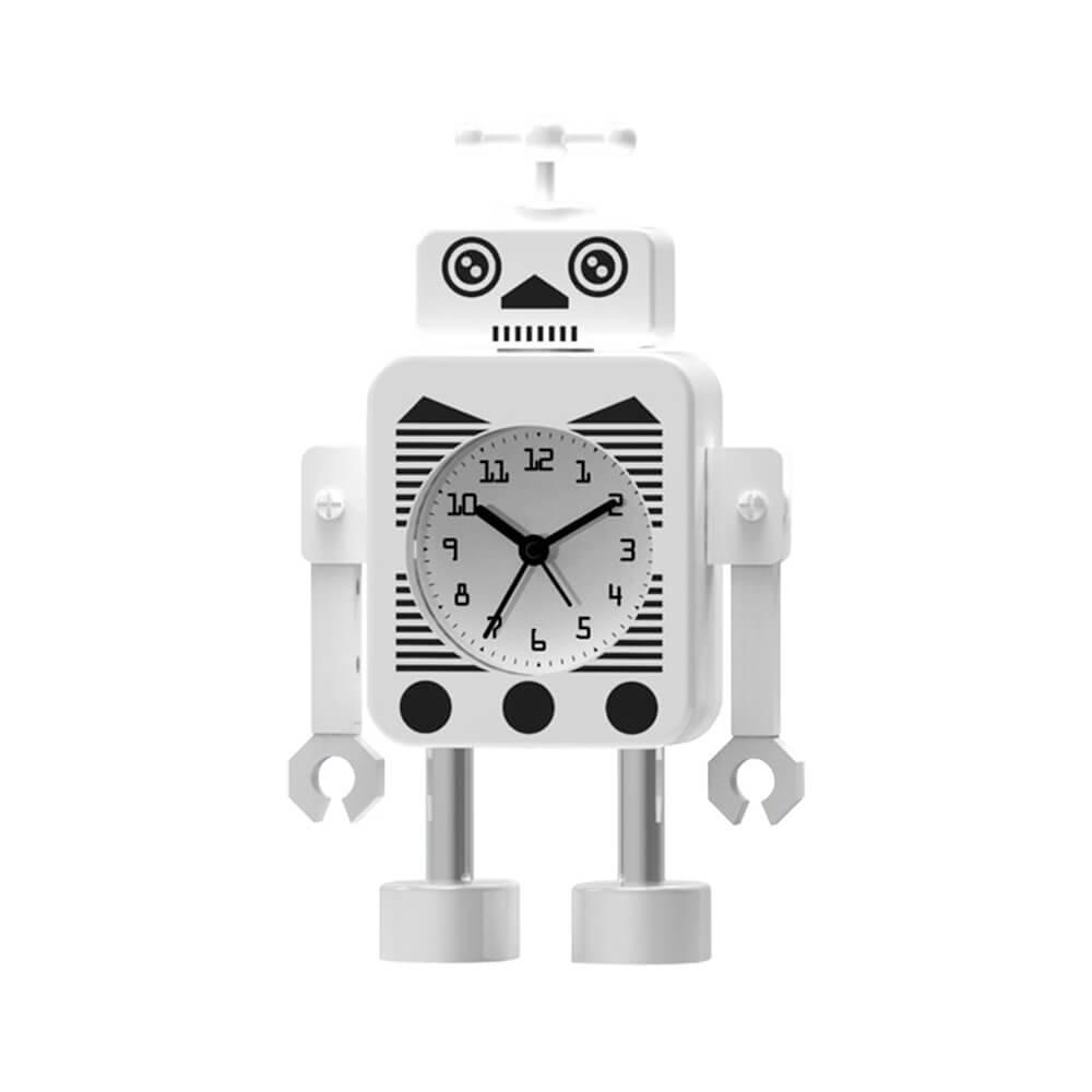 Relógio de Mesa Female Robot Branco em Metal - 17,4x10,6 cm