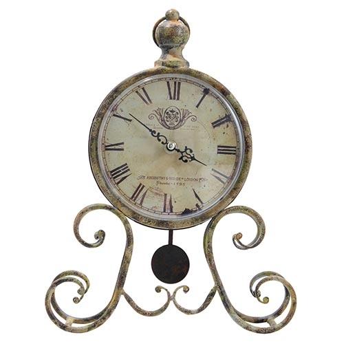 Relógio de Mesa Ferrugem c/ Pêndulo Oldway - 33x26cm