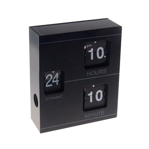 Relógio de Mesa Flip Cubos Preto - 19x16 cm