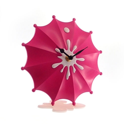 Relógio de Mesa Guarda Chuva Rosa Pink - 19x18 cm